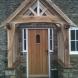 Closeup of oak porch