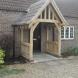 Oak frame porch with oak legs