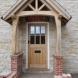 Oak porch with bricks