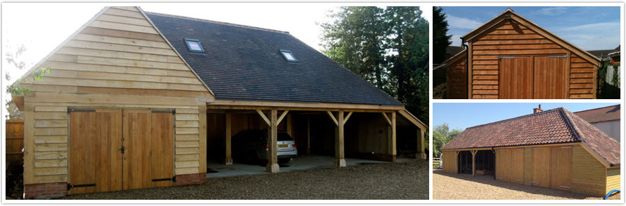 Left: Three Bay Oak Frame Garage with Garage, Log Store and Upstairs Living Space | Top Right: Single Bay Sapele Garage with Log Store | Bottom Right: Large Softwood Garage with Rosemary tiles