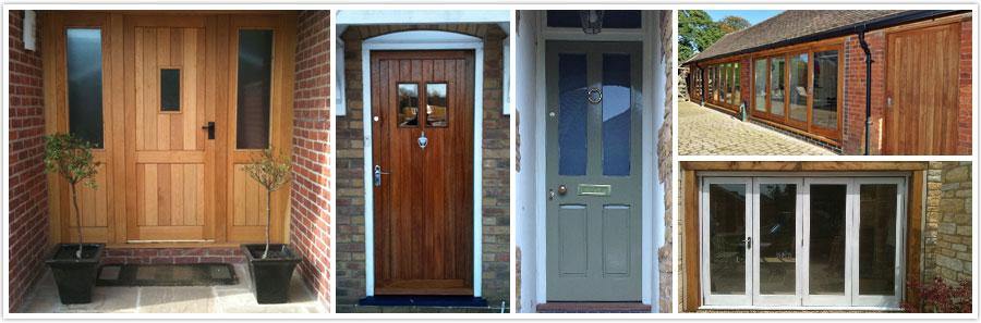 Left to Right :Oak Front Door Set with Side Glass Panels | Sapelle Front door | Softwood Painted Front Door | Top Right: Sapelle Bi-Fold Doors and Windows | Bottom Right: Softwood Painted Bi-fold Doors