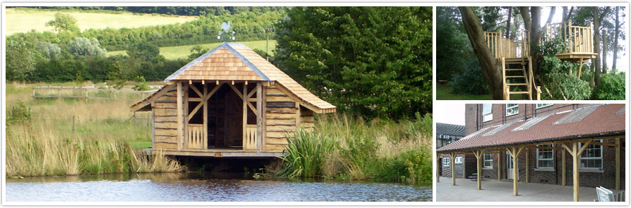 Left: Oak Frame Boat House with Waney Edge Board | Top Left: Pimms Platform / Tree House | Bottom Right: Oak Frame Outdoor Classroom