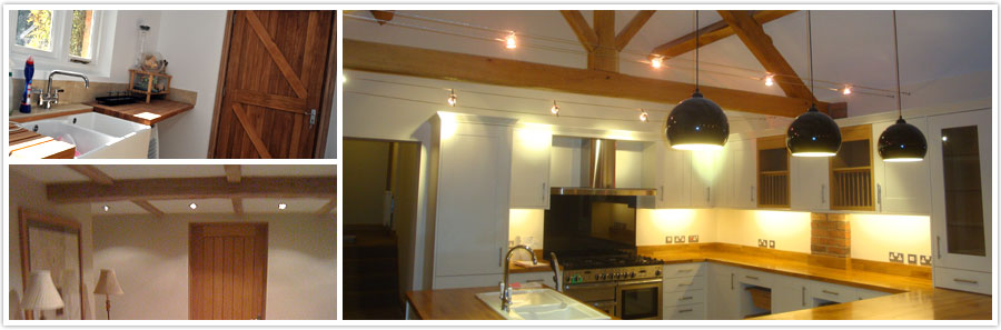 Top left:  Oak Worktop and Sapelle Door | Bottom Left:   Oak Beams and Oak Door | Right: Oak Trusses and Oak Worktop